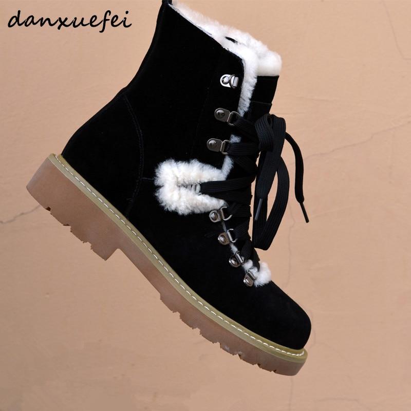 46d08d4b152dad Beige D'hiver Bottes Martin Daim Loisirs Lacets Cuir De Femmes Chaussures  Pour Véritable Appartements Neige ...