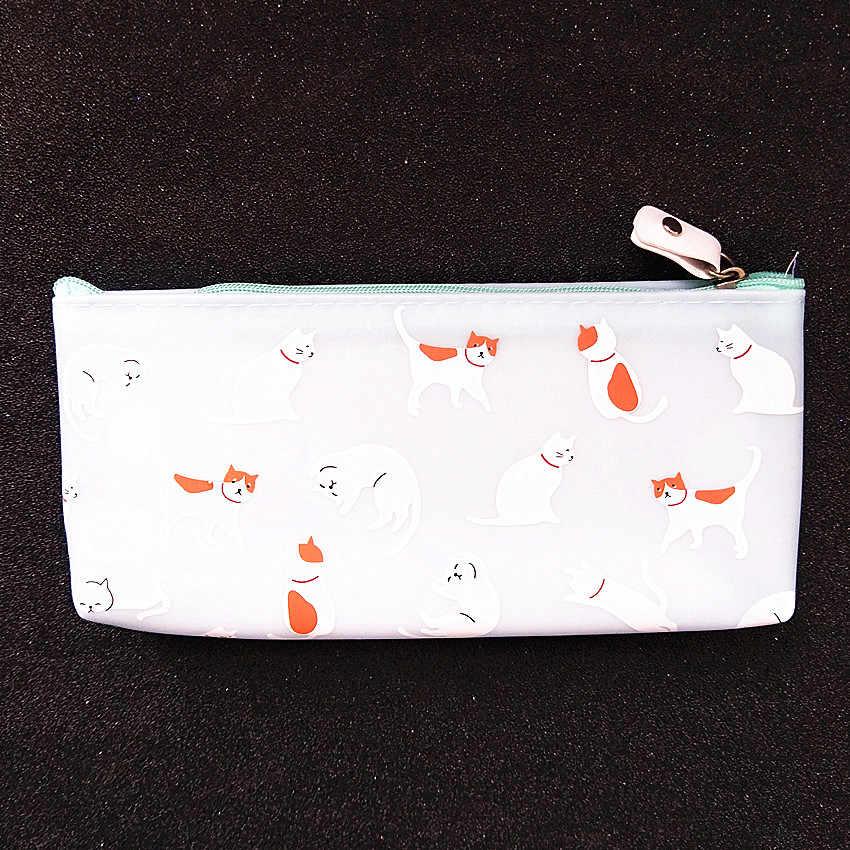 M252 Bonito Mulheres Bolsas Gato Lindo Doce Cor Geléia Criativa PU Saco do Lápis Bolsa Da Moeda Saco Cartão da Carteira