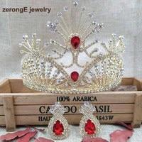 zerongE jewelry 4.1 New Women gold Red Tiara Austrian Rhinestone Hairwear comb crown with matching earring