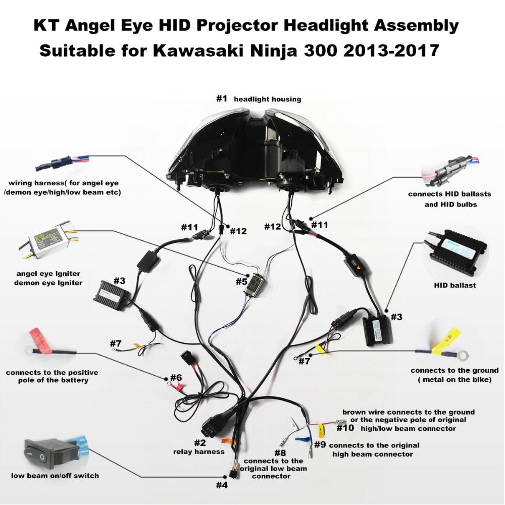 Motorcycle Wiring Diagrams Kawasaki Ninja 300 Library 650r Engine Diagram Kt Headlight For 2013 2017 Led Angel Eye Red Demon Hid