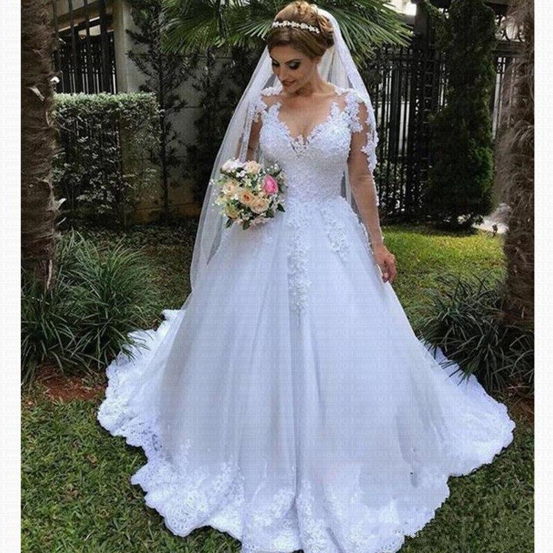 Vestido De Noiva Renda Wedding Gowns 2019 Robe Mariage Sexy Bohemian Long Sleeve Wedding Dress Bride Dress Casamento