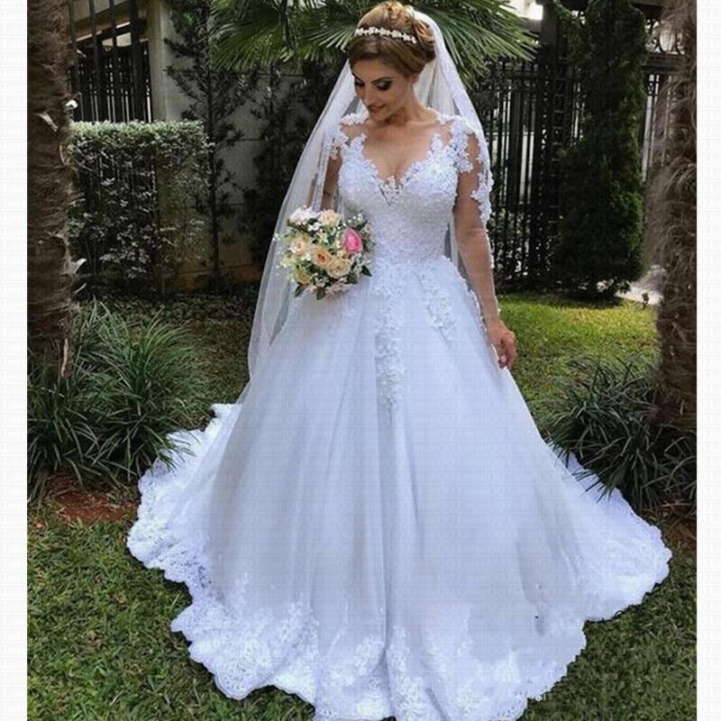 Vestido De Noiva Renda Wedding Gowns 2020 Robe Mariage Sexy Bohemian Long Sleeve Wedding Dress Bride Dress Casamento