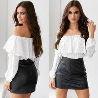Prapra Off Shoulder Tops Women Blouse Casual Slash Neck Tube Crop Top Summer Loose Strapless Shirt