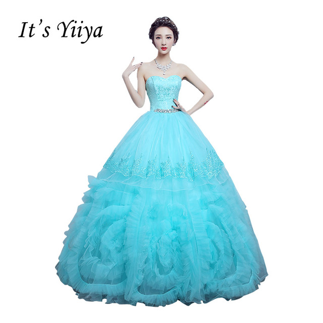 Free Shipping Strapless Flowers Light Blue Wedding Dresses Tulle ...