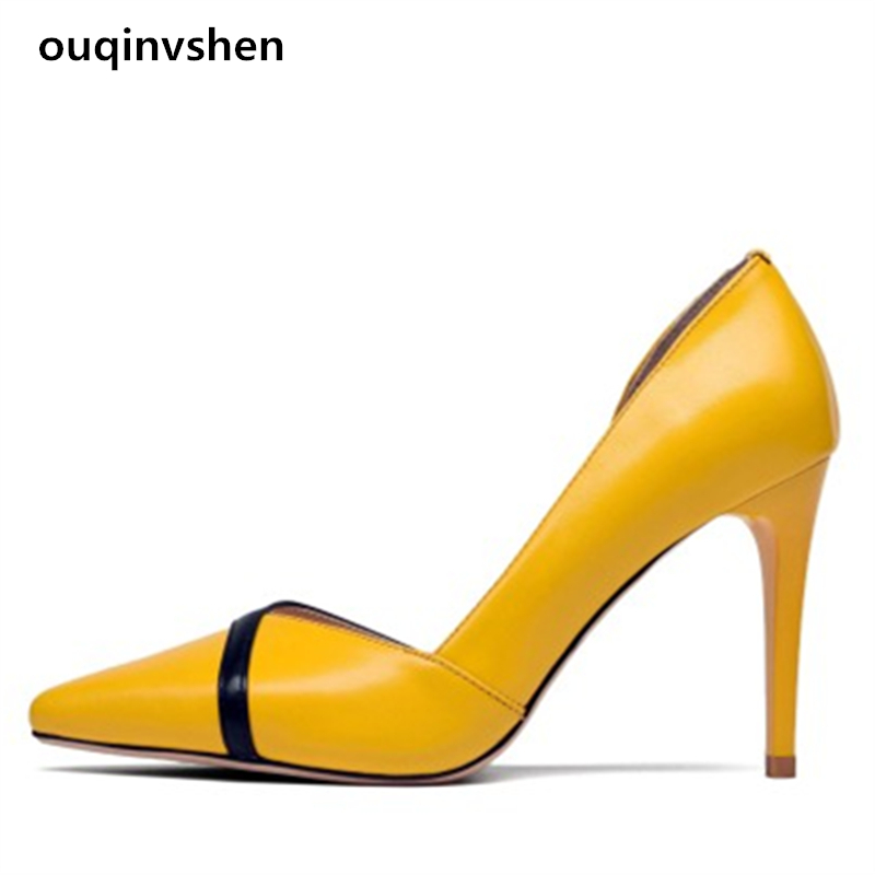 Ouqinvshen Spell Color Pumps Women Shoes Spring Cow Muscle Pointed Toe Genuine Leather Sexy High Heels Yellow Hollow Thin Heels big size 40 41 42 women pumps 11 cm thin heels fashion beautiful pointy toe spell color sexy shoes discount sale free shipping