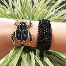 Go2boho Dropshipping Delicate Bracelet Beetle Bracelets tassel MIYUKI Seed Beads Black Handmade Woven Women Her Gift Jewelry New