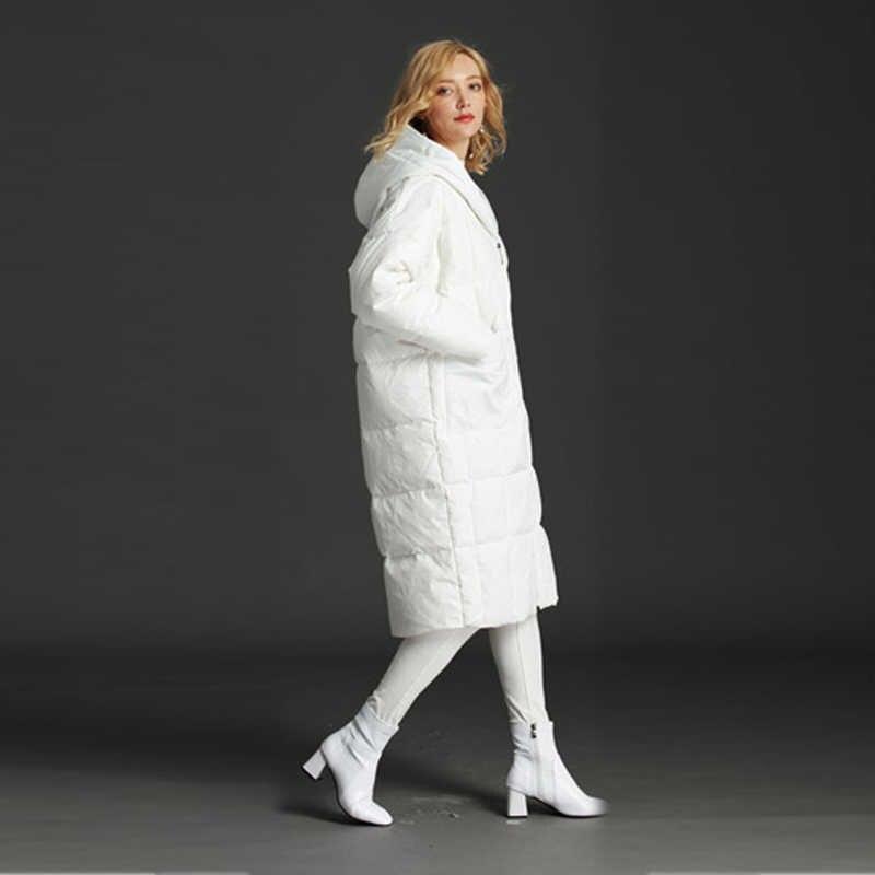 CNMUDONSI, новый дизайн, модная утепленная верхняя одежда с капюшоном, женские пуховики, свободные, большой размер, кокон, зимнее длинное пальто для женщин