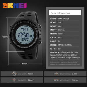 Image 2 - SKMEI Compass Hodinky Men Clock Sports Watches World Time Watch Countdown Chrono Waterproof Digital Wristwatch Relogio Masculino