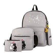 4 unids Lona de las mujeres bolsos compuestos gato patrón totalizador solo bolso de hombro bolsos monedero bolsa conjunto bolsos