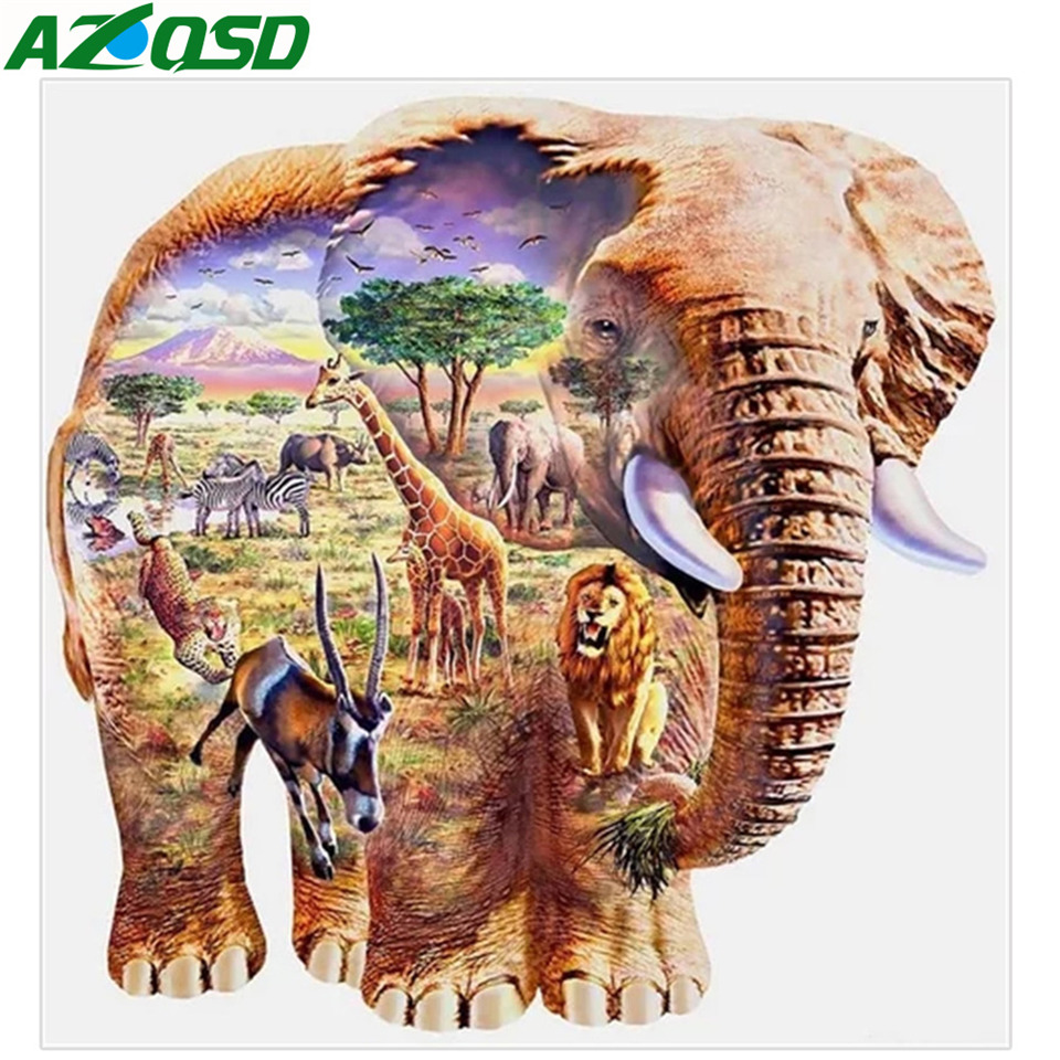 AZQSD Diamond Embroidery 5d Animal Diamond Painting Elephant Mosaic Craft Kit Picture Of Rhinestones Needlework Home Decoration in Diamond Painting Cross Stitch from Home Garden