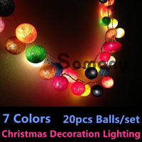 Thailand Man Made Cristmas New Year 7 Colors Cotton Ball Strip Lights Patio Wedding Holiday Party