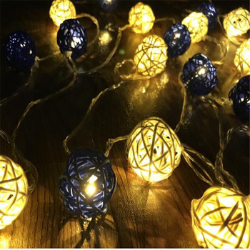 1.5M 10White Dark Blue Rattan Ball LED String Fairy Light Xmas Wedding Party Decoration Guirlande Lumineuse Exterieur Guirlande
