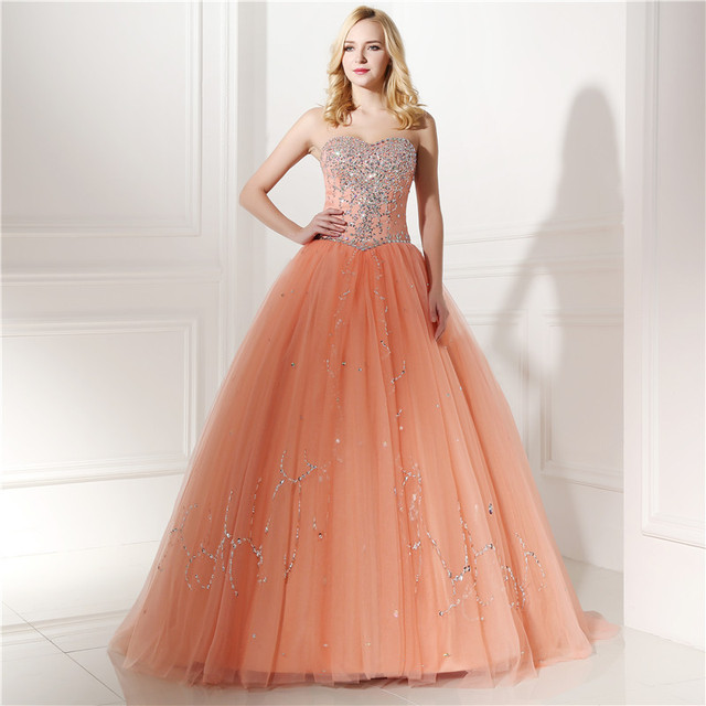 Real Models Peach Ball Gown Prom Dresses With Rhinestone Beadings ...
