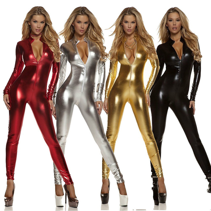 Women Cosplay Costume <font><b>Sexy</b></font> Jumpsuit <font><b>Catsuit</b></font> Zentai Bodysuit Metallic Stage Perfermance Suit Halloween Carnival Outfit Suit image
