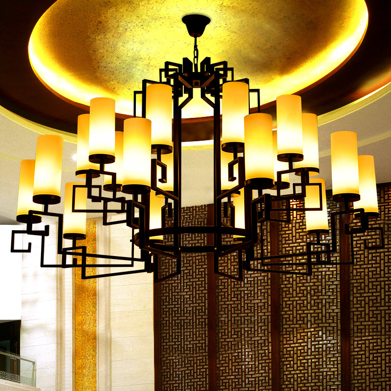The hotel lobby is modern Chinese engineering custom glass chandelier new Chinese restaurant lighting wrought iron garden clubs-in Arm Warmers from Womenu0027s ... & The hotel lobby is modern Chinese engineering custom glass ... azcodes.com