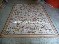 Free shipping 9'x12' Aubusson rugs white ground with colors with small flowers French style aubusson carpets