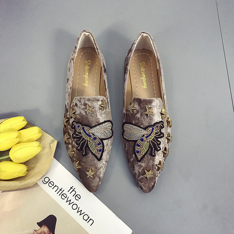 2018 spring summer women Flat shoes suede embroidered animal shoes woman slip on point toe loafers rivets fashion ladies Shoes 2