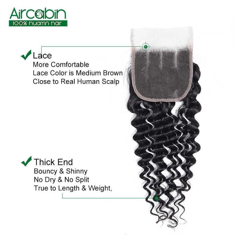 Aircabin бразильские глубокая волна 4x4 кружева Закрытие 130% густые натуральные волосы глубокая волна бесплатная средняя три части не Реми бесплатная доставка