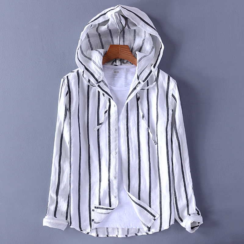 2019 New Design Men's Hooded Cotton And Linen Casual Striped Shirt Loose Fashion Trend Mens Shirt Stripe Brand Shirts Men Camisa