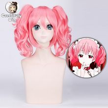 Anime Roromiya Karuta  Inu X Boku SS Pink Short Curly Cosplay Wig Costume 40cm Synthetic Hair Wigs With Chip Ponytails epacket free shipping 001894 cos pink and black mix long curly cosplay wig two ponytails