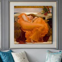 UK Famous Painting Flaming June by Frederic Leighton Decorative Poster Print on Canvas Wall Art Pictures for Room Decor