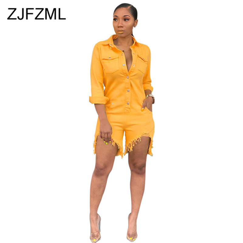 Plus Size Casual Denim   Jumpsuit   Women Turn Down Collar Long Sleeve One Piece Overall Streetwear Yellow Button Up Short Playsuit