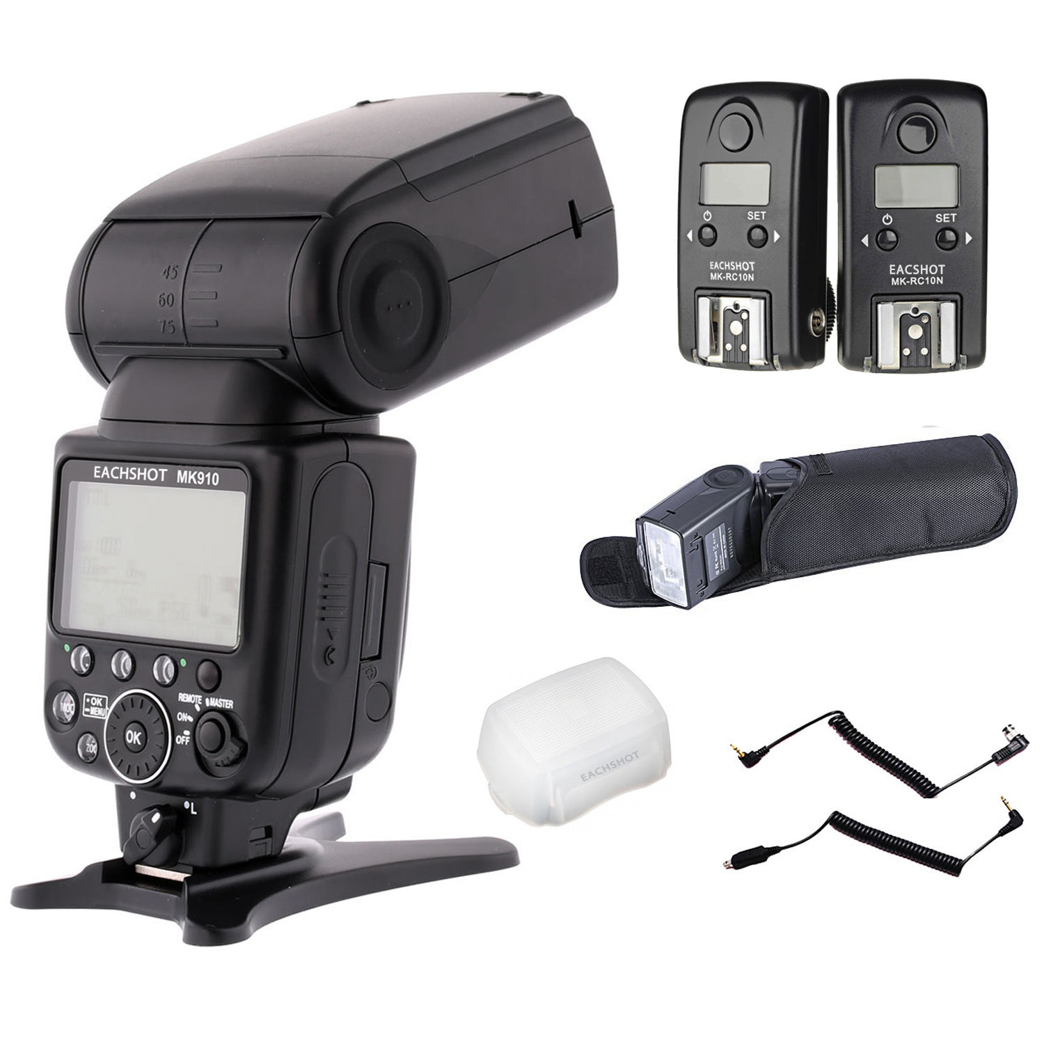 Meike MK-910 MK 910 TTL HSS Flash Speedlight + MK-RC10N RC10N HSS TTL Flash Trigger for Nikon meike mk 910 i ttl flash speedlight hss master as for nikon sb 910 d810 d750 d7100