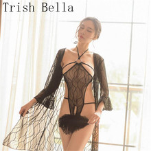 transparent Lace Wave pattern halter Conjoined Metal ring Hollow out porno sexy lingerie costumes babydoll langeri lenceria