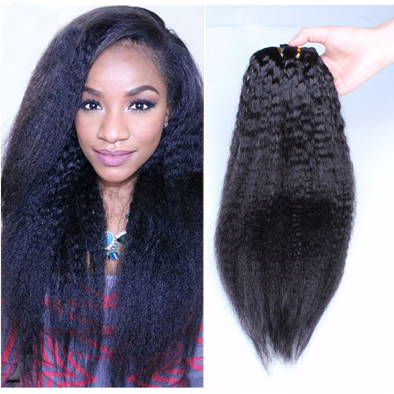 Clip Ins Human Hair Extensions  Peruvian Virgin Hair Kinky Straight African American Clip In Hair Extensions 7pcs/set Clip Ins