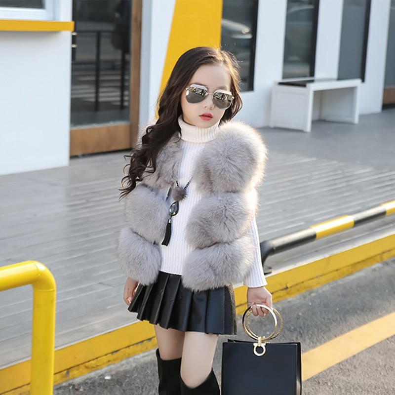 Children's clothing Fur Vest Imitation Fox Fur Coat Girls Fall Winter New Short Section Vests Girl Waistcoat Baby Coat 1-10 Year ein fall fur tessa