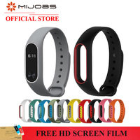 Mijobs Colorful Silicone Wrist Strap Bracelet Double Color Replacement watchband for Original Miband Xiaomi Mi band 2 Wristbands