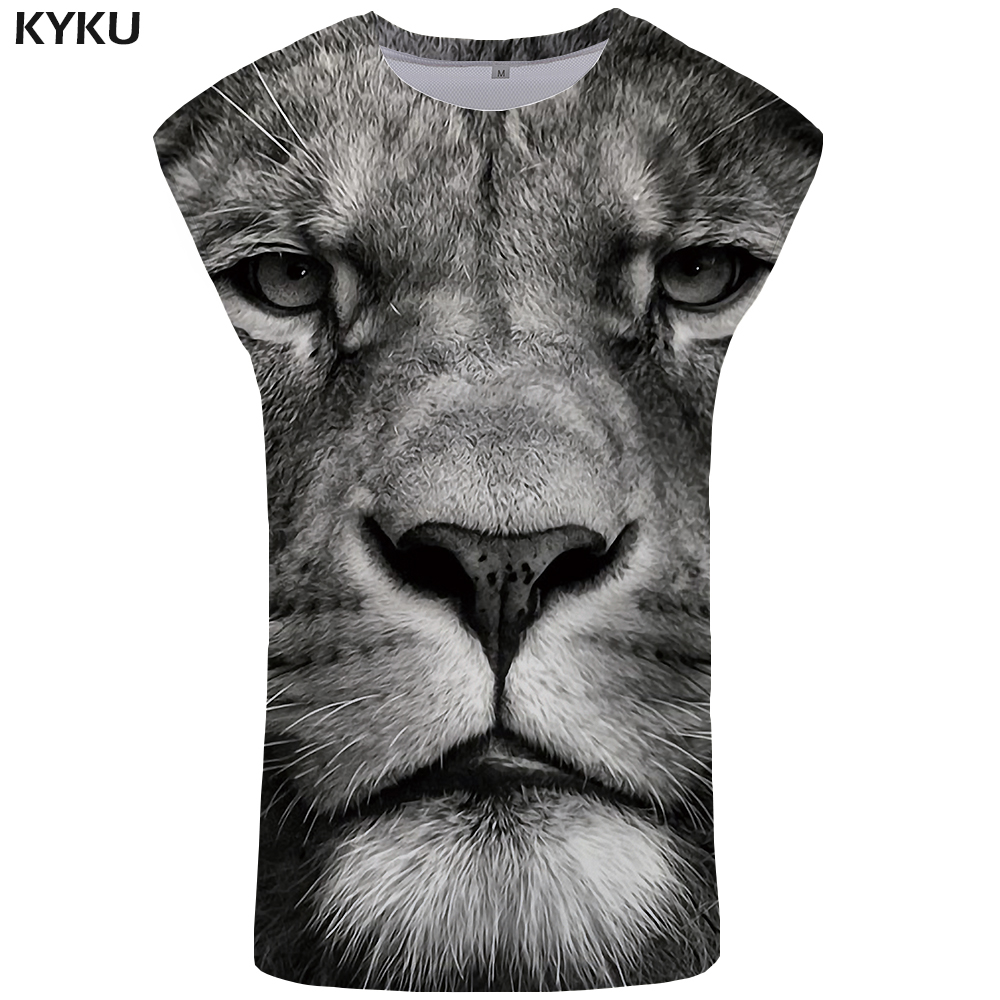 KYKU Lion   Tank     Top   Men Gray Mens Bodybuilding 3D Stringer Animal Undershirt Ftness Clothing Vest Sleeveless Shirt Man Anime