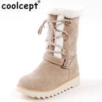 Coolcept Size 33 43 Cold Winter Shoes Women Thick Fur Inside Mid Calf Snow Boots Female Cross Tied Thick Platform Flat Shoes