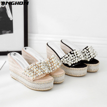 TINGHON Summer Wedge Slippers Platform High Heels Women Pearls Rhinestone Outside Shoes Wedge Slipper Beach wild slides Sandals цена
