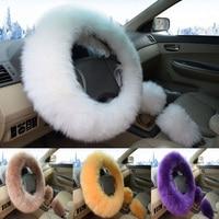 Man Woman Girls Fur Steering Wheel Handbrake Cover Wool Plush Gear shift knob for BMW E90 320i 325i 330i 335i E87 120i 130i 120d
