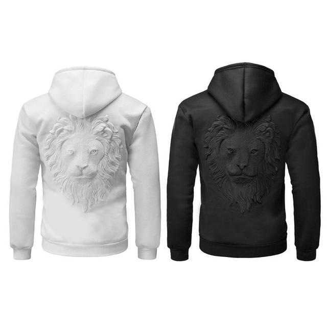 3baf43686 3D Lion Head Print Embossing Men's Hoodie Casual Black White Hooded  Sweatshirt Autumn Spring Winter Male