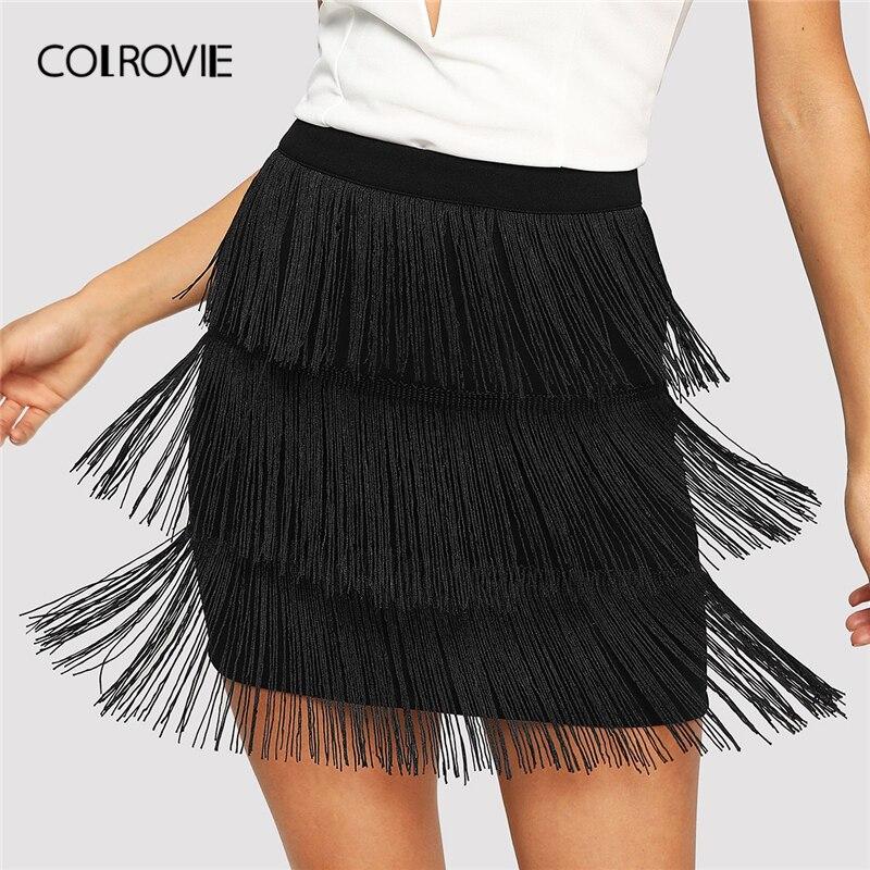 2c44c3bee COLROVIE cintura alta negro vestido Sexy Bodycon falda de la primavera de  2019 lápiz Oficina faldas ...