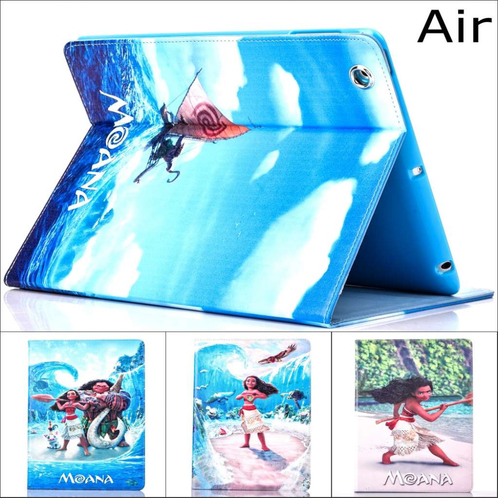 Fashion Movie Moana Croods ocean Pu leather stand holder Cover Case For Apple iPad air With screen protector