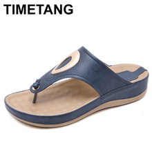 TIMETANG 2019 Summer Casual Beach Shoes Women Fashion Non-slip Flat Flip Flops Low Heels Slippers Sandals Good QualityE420(China)