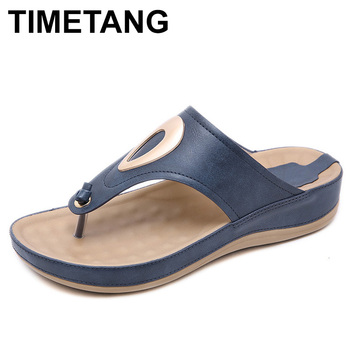 TIMETANG 2019 Summer Casual Beach Shoes Women Fashion Non-slip Flat Flip Flops Low Heels Slippers Sandals Good QualityE420