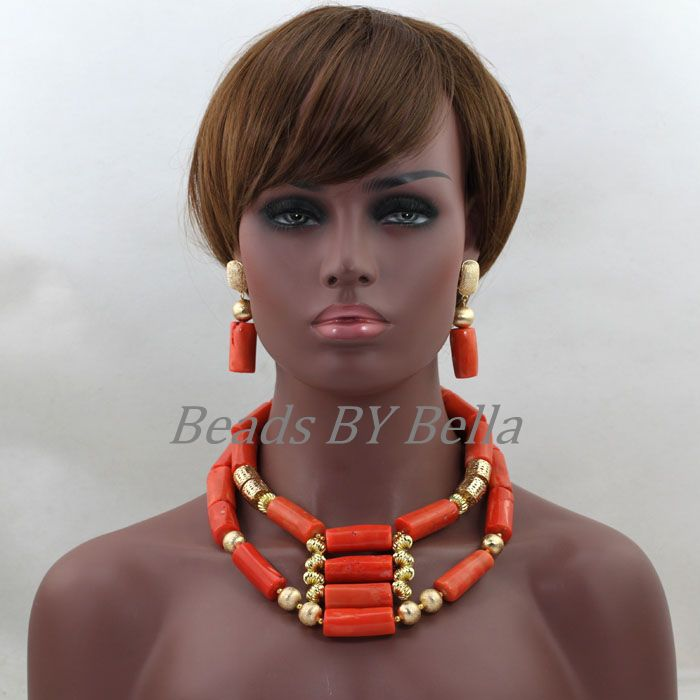 Hot Latest Beads Jewellery Coral Bridal Necklace Set African Fashion Jewelry Sets For Women Real Coral Sets Free Shipping ABL342Hot Latest Beads Jewellery Coral Bridal Necklace Set African Fashion Jewelry Sets For Women Real Coral Sets Free Shipping ABL342