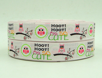 Wm 10 yardas Lote 7/8 pulgadas 22mm 141102013 cute owl diseño tejer grogrén (ligamento tafetán cinta impresa