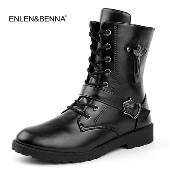 2018 Autumn Punk Ankle Boots Men Fashion PU Leather Lace-up Motorcycle Boots Black Vintage High Top Buckle Shoes Man Ankle Boots luxury pom pom decor ankle boots lace up black leather ankle strap buckle round toe ridding boots flats women motorcycle boots