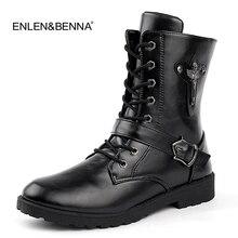 ¡Otoño 2018! botas Punk Martin a la moda de piel sintética con cordones para hombre, botas de moto negras Vintage, botas altas con hebilla para hombre, botines