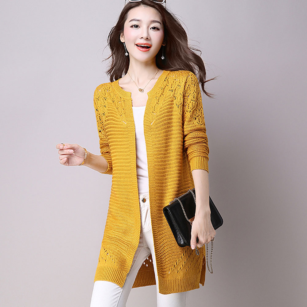 bec54adf3040ce S 3XL 2018 Casual Kimono Open Front Crochet Knit Cardigans Long Sleeve Plus  Size Loose Outerwear Long Sweater Women Cardigan-in Cardigans from Women's  ...