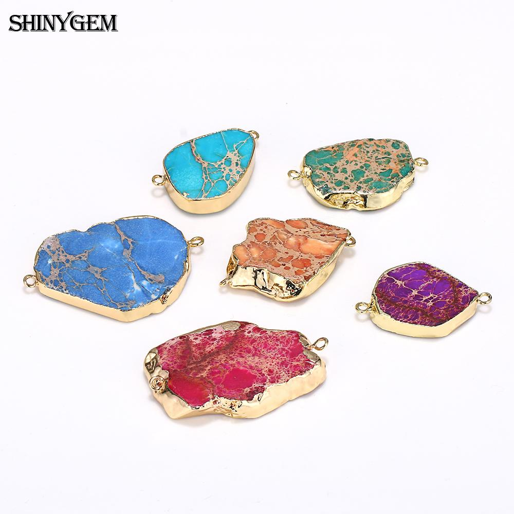 ShinyGem Sea Sediment Natural Stone Pendants Irregular Gold Slice Pendants Druzy Rhinestone Pendant Connector For Jewelry Making