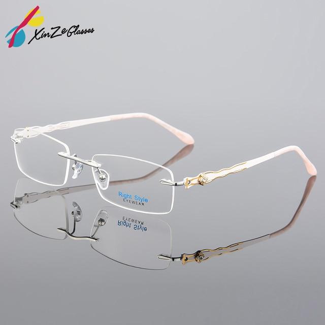 e149679e8f8 XINZE lunettes de vue en titane pur sans monture optique monture  Prescription lunettes sans cadre pour