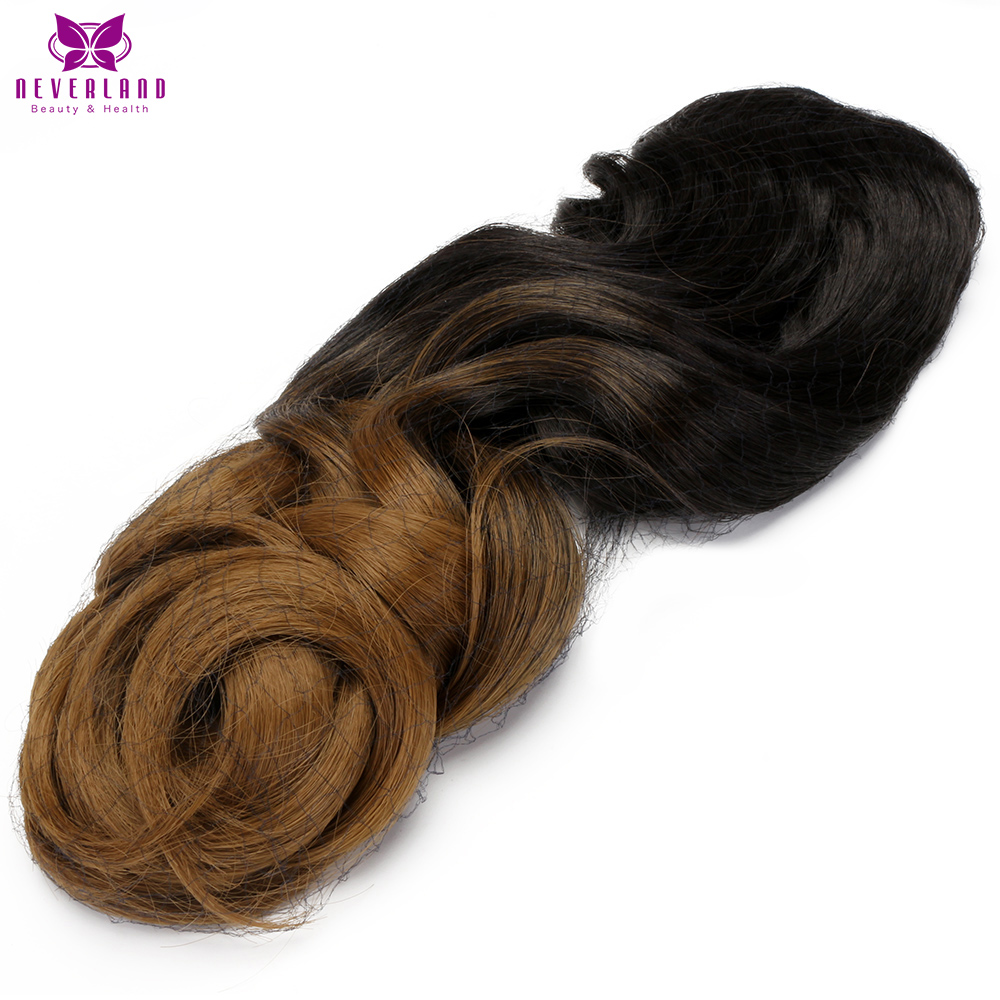 Neverland 24 60cm 5Clips Black to Brown Ombre Color Synthetic Hairpieces Long Curly Clip in One