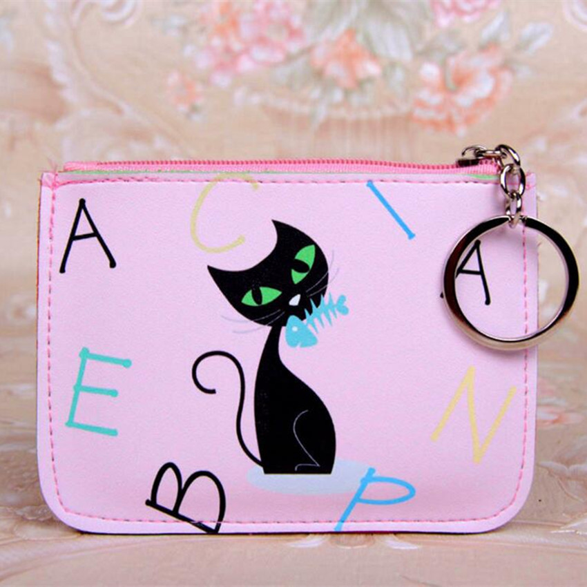 M219 2017 Cute  Women Purses Quality PU Fabric A Fine Print Of Animal Cat Designs Card Set Zero Wallet Key Buckle Coin Purses куртка fine 219 9285 aj ck ea7