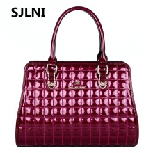 SJLNI 2017 New Brand Designer Diamond Lattice Embossed Genuine Leather Women's Handbag Cowhide Leather Female Tote Bag Wholesale